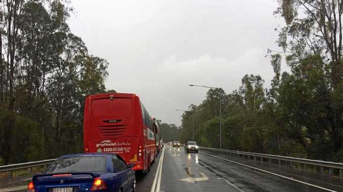 Traffic backed up on the Bruce Hwy.