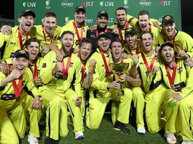 Western Australia celebrate with the trophy after the JLT One Day Cup Final match between Western Australia and South Australia at Blundstone Arena.