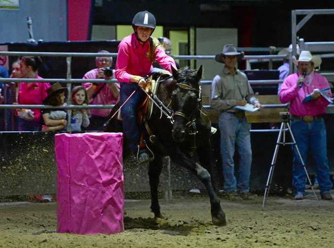 WINNING FORM: Fourteen-year-old Keeley Sibson and Storm in action at the Bulls 'n' Barrels event at the Great Western Hotel on Saturday night.
