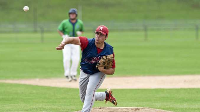 Sam McNeice pitches for Toowoomba Rangers.