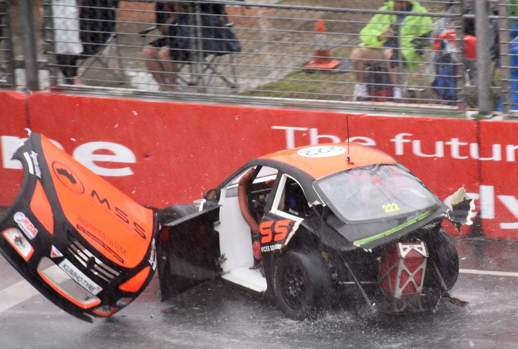 A crash drama unfolded right in front of the corporate boxes at the Gold Coast 600.