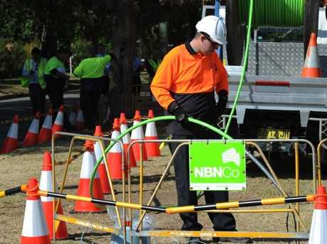 The NBN Co construction team rollout fibre in Penrith, in Sydney's west.