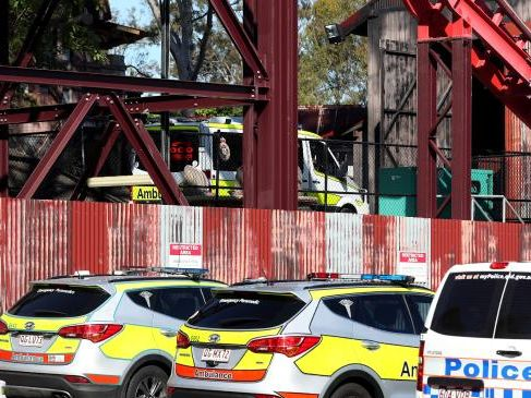 Police and emergency crew at the scene of a horrific accident at Dreamworld where four people were killed. Picture: Regi Varghese