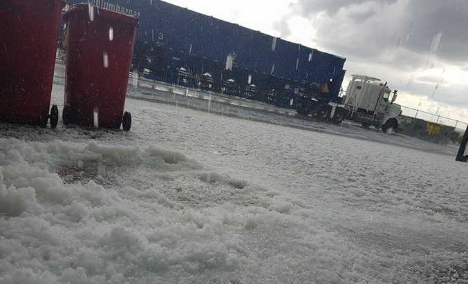 Shaun Carter's photo of hail at Wellcamp Airport.