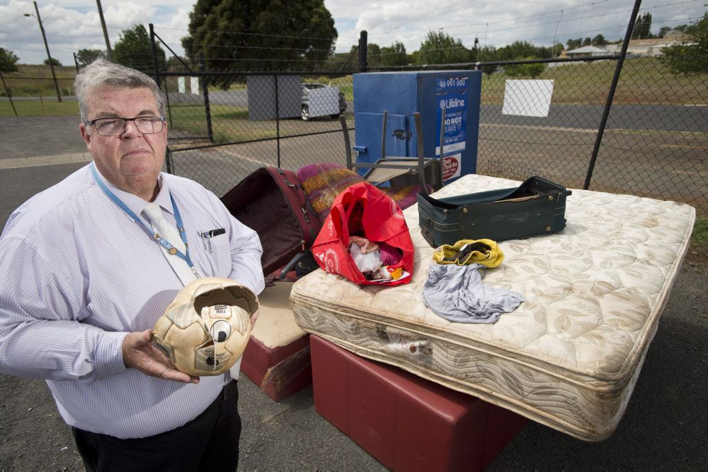 Lifeline chief executive Derek Tuffield is disgusted with people using charity bins for convenient rubbish disposal, Thursday, January 05, 2017.