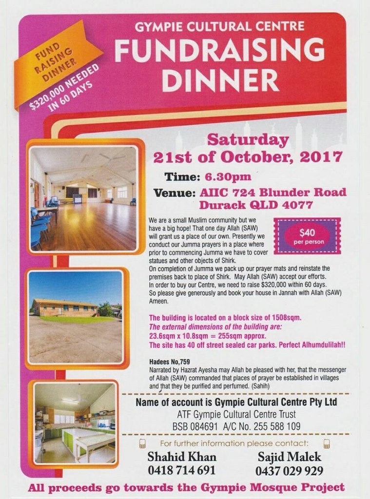 Flyer advertising a fundraising dinner for a Gympie masjid.