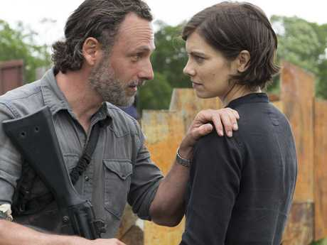 Andrew Lincoln and Lauren Cohan in a scene from the season 8 premiere of The Walking Dead.