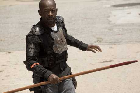 Lennie James as Morgan Jones in a scene from season 8 episode 1 of The Walking Dead.