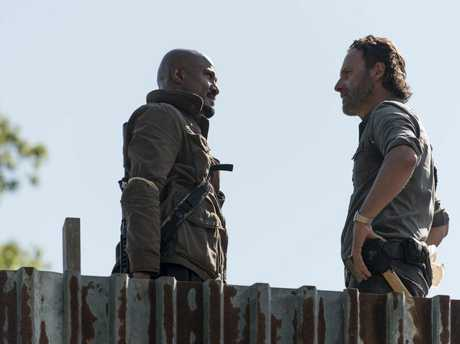 Andrew Lincoln as Rick Grimes and Seth Gilliam as Father Gabriel Stokes in a scene from the season 8 premiere of The Walking Dead.