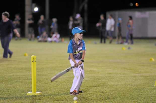 SQURAING UP: Young cricketers had a go at T20 Blast's opener.