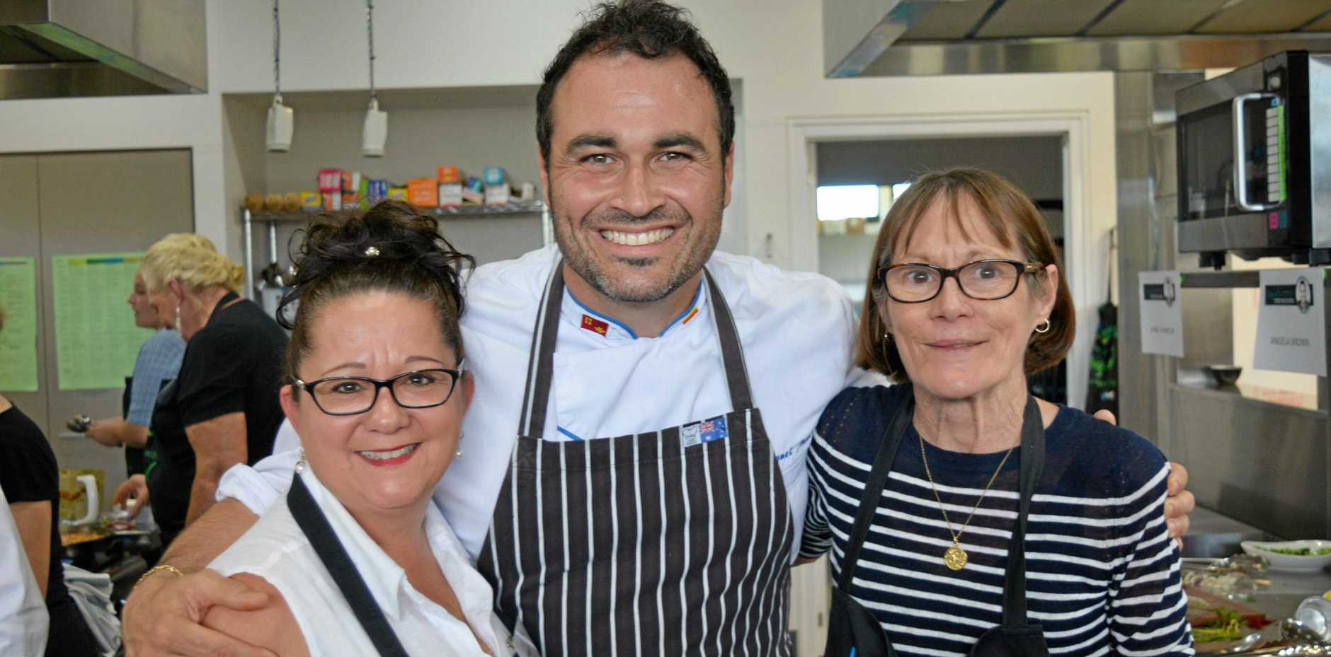 IN GOOD HANDS: Kerri Beasley, Miguel Maestre and Angela Brown at Miguel's Cooking School event held at Faith Lutheran College, Plainland.