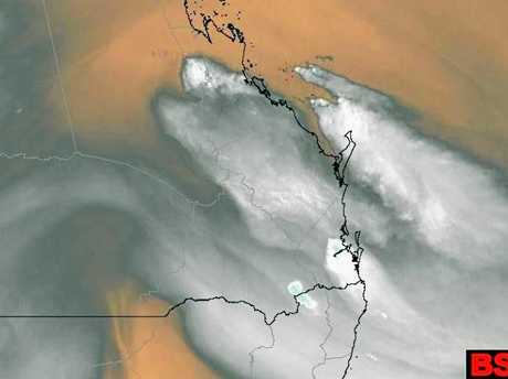 Satellite image shows the storm rolling across Central Queensland about 4.30am Monday.