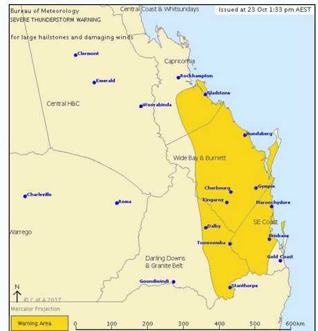 Severe thunderstorms are likely to produce large hailstones and damaging winds in the warning area over the next several hours. Locations which may be affected include  Bundaberg, Gladstone, Kingaroy, Stanthorpe and Caboolture.