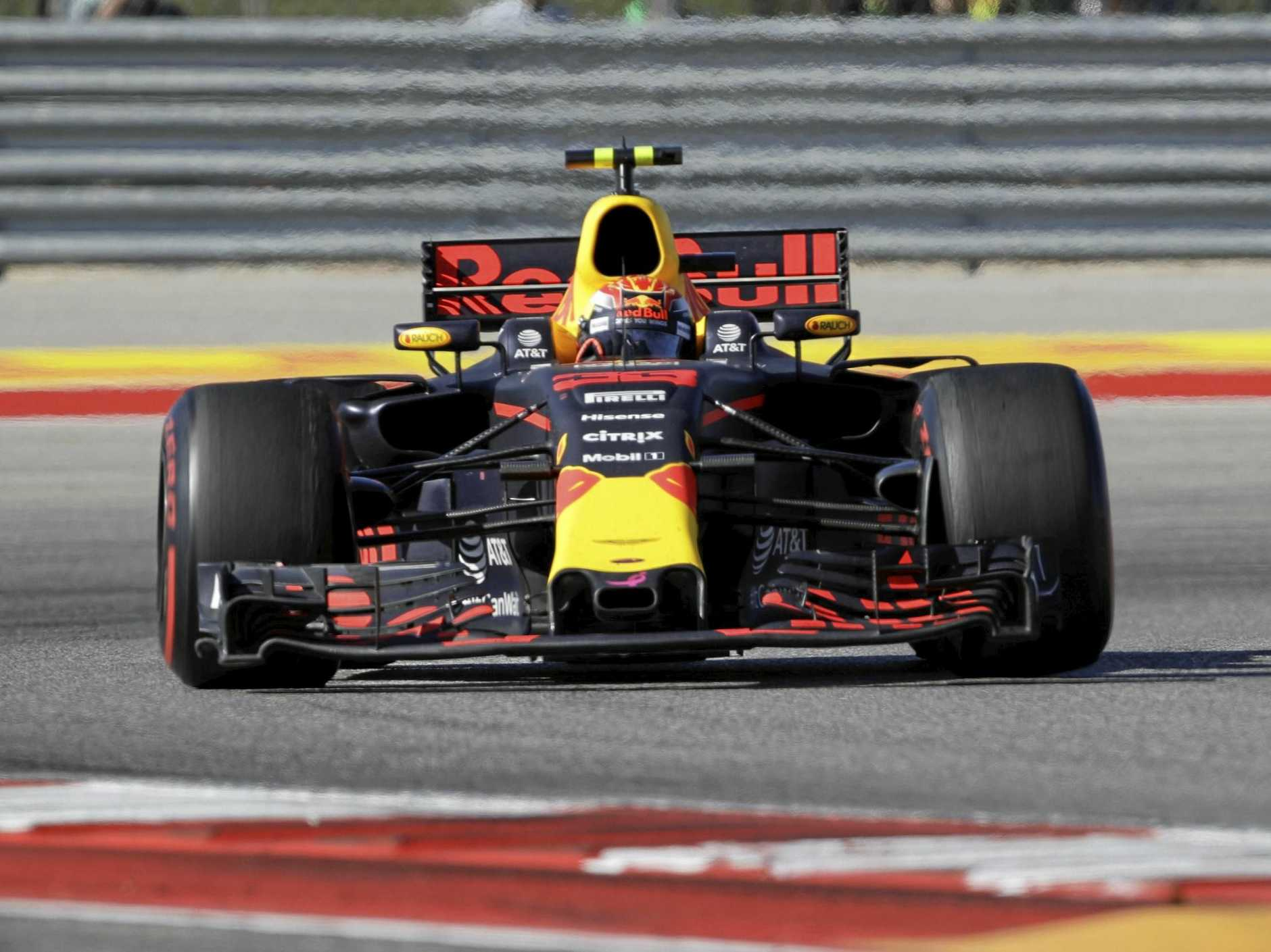 Verstappen (33), of Netherlands, steers through a turn  at the Circuit of the Americas