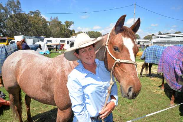 LEADER: JJ Lamb with her horse Hot Chilli Woman after taking the lead with 91 in the Vanderfield Hino Ladies Silver Cup first round in campdrafting at the Warwick Showgrounds.