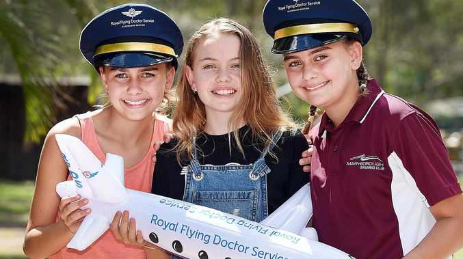 SURVIVORS: Maryborough girls(centre) Jade-Elle Brown with her twin sisters and Molly and Ruby.