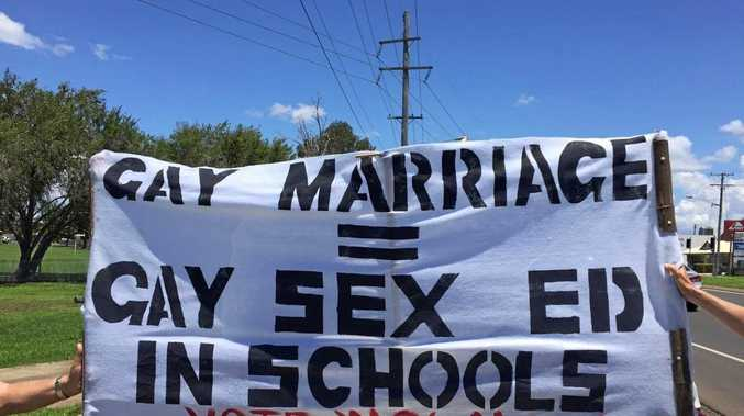 MARRIAGE DEBATE: This sign was placed along Takalvan St, at the back of Bundaberg West State School.