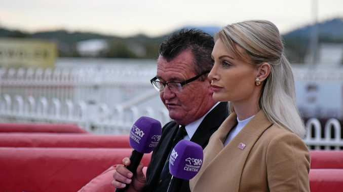SKY Racing's Gary Kliese and Priscilla Schmidt in the mounting yard. The Lismore Turf Club TAB meeting yesterday was washed out.
