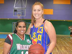 Warwick Wildcats captain Salome Green (left) and USQ Dragons captain Kimberlee Wilson ahead of their match in Warwick on Saturday night.