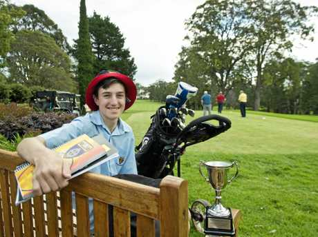 RARE DOUBLE: 15-year-old high school student Quinn Croker was all smiles after winning the won the Toowoomba Golf Club Middle Ridge 2017 Strokeplay Championship and the club's Junior Championship over the past few weeks.