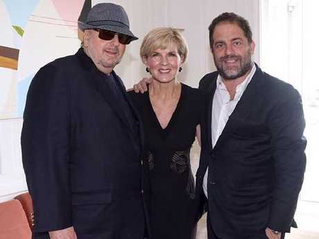 Foreign Minister Julie Bishop with directors James Toback (left) and Brett Rattner. Picture: Instagram
