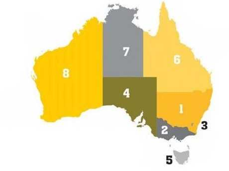 The state economic growth rankings, according to October's CommSec State of the States report.