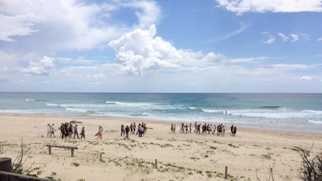Friends and family gather to farewell the young boy. Picture: Amanda Robbemond