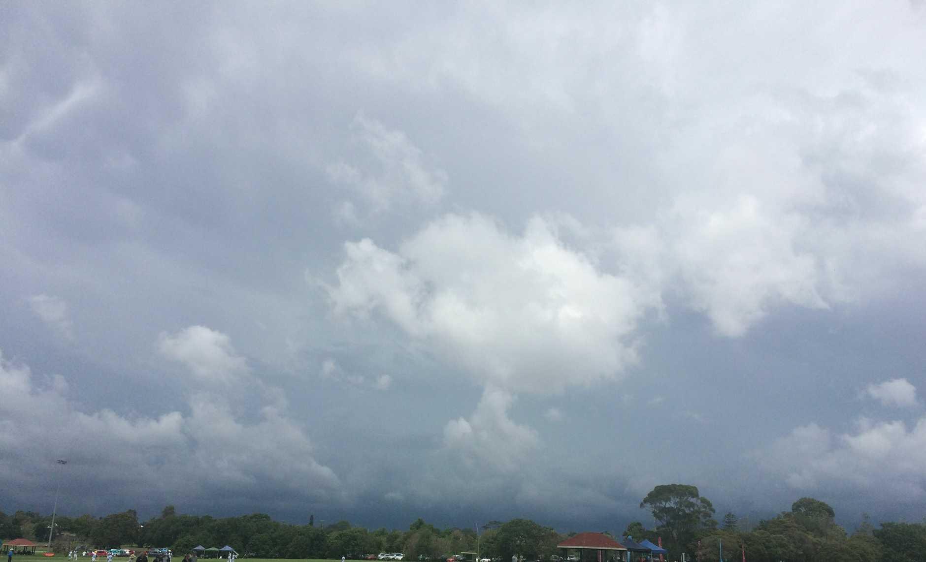 Dark skies above Captain Cook Oval.
