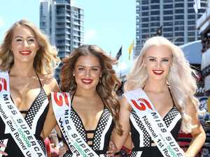 Miss Supercars 2017 winner, Darwin's Sophie Budack (centre), with first runner-up from the Gold Coast Michaela Arnott (right) and second runner-up Nicole Hall from Brisbane. Picture: Glenn Hampson