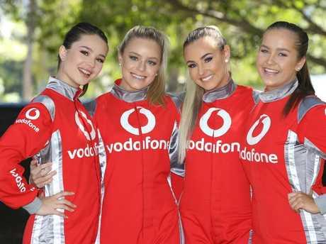 Vodaphone girls Saskia Geraghty, Jess Assim, Alisa Robinson and Jasmin McCurdy.