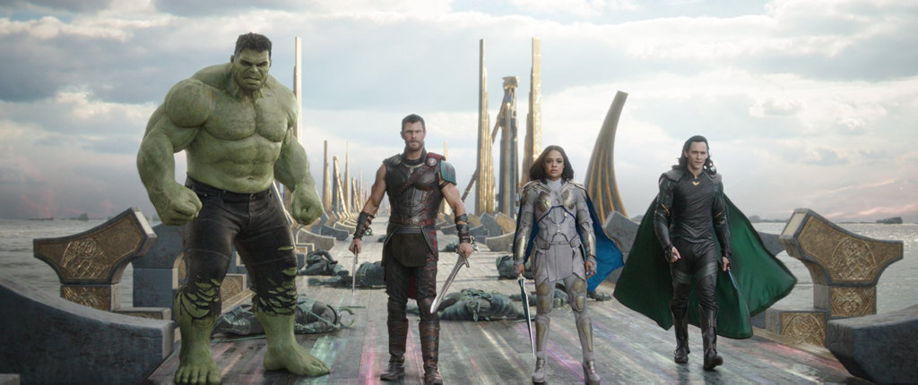 Mark Ruffalo (as Hulk), Chris Hemsworth, Tessa Thompson and Tom Hiddleston in a scene from Thor: Ragnarok.