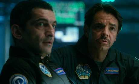 Amr Waked and Eugenio Derbez in a scene from Geostorm.
