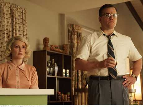 Julianne Moore and Matt Damon in a scene from Suburbicon.