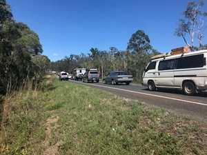 FOOTAGE: Traffic around the crash on Hervey Bay