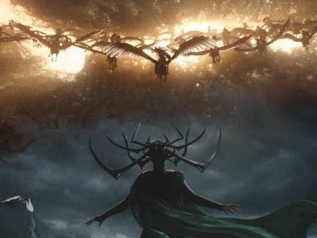 Cate Blanchett as Hela in a scene from Thor: Ragnarok.