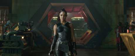 Tessa Thompson as Valkyrie in a scene from Thor: Ragnarok.
