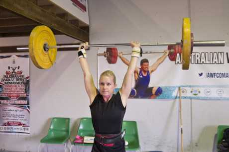 Toowoomba Weightlifting Association member Lisa Souter prepares for competition, Monday, October 23, 2017.