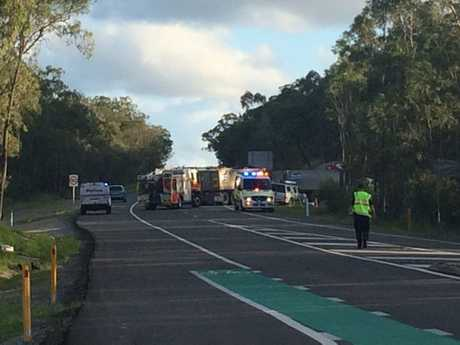 ROAD CLOSED: A truck with a trailer and a dual cab ute have collided on Glenlyon Rd.