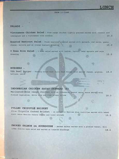 CITY ELEMENTS: Lunch menu.
