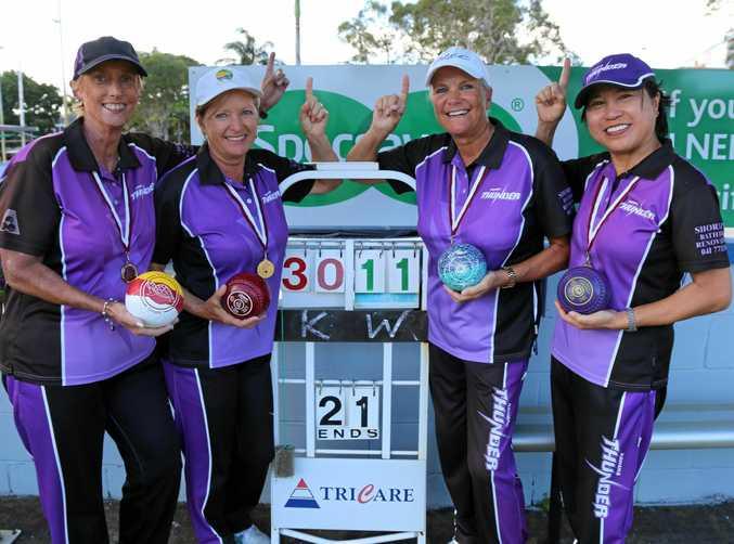 WINNERS: State Champion of Club Champion Women's Fours was Kawana's Judy Whaites, Di Viterale, skip Jane Bush, Wila Permpoon.