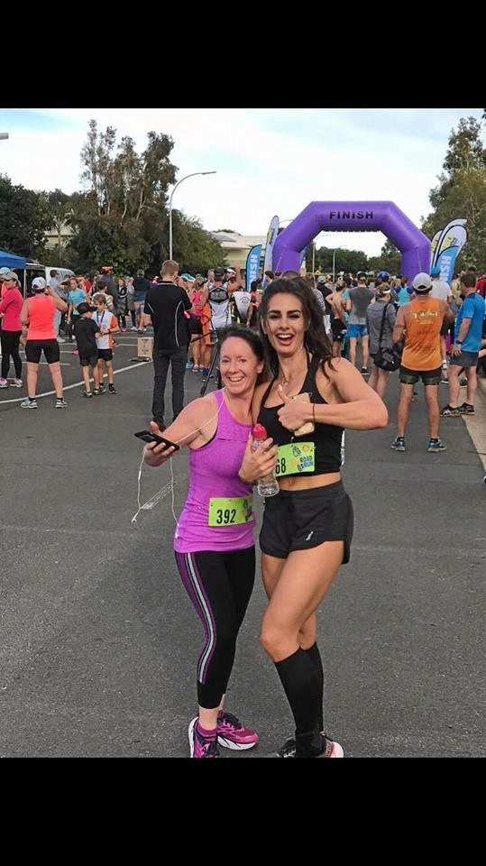 FITNESS: Jen Watterson and Improvements Fitness Centre trainer Courtney Barbera at the Ring Road Run.