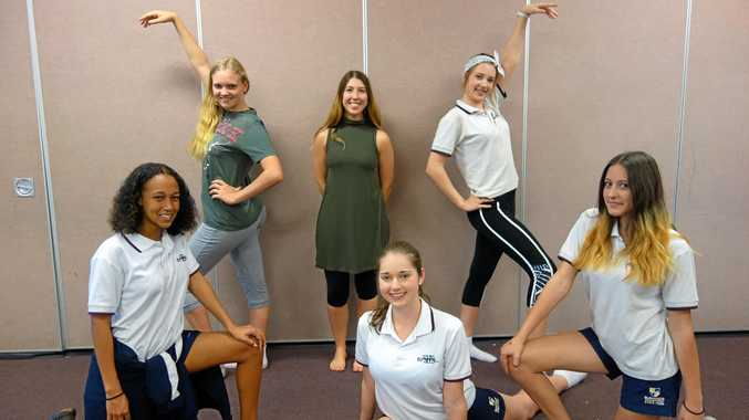 DISPLAYING ALL THE RIGHT MOVES: Teacher Mirinda Campbell and Year 10 students working on a dance piece: (front row, from left) Tyra Kabogo, Amy Wendt, Jasmine Hill, (back row, from left) Suzy Powell and Hailey Morse.