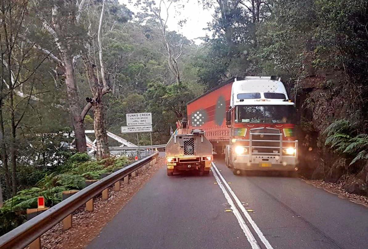 A truck winds its way through the Galston Gorge.