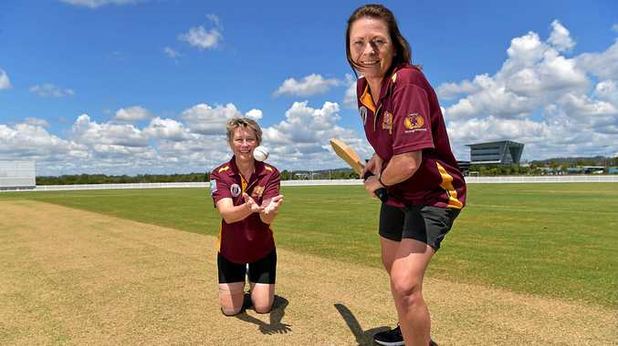 GAME ON: Alexis Turner and Maree Chown from the Buderim Cricket Club test out the new field.