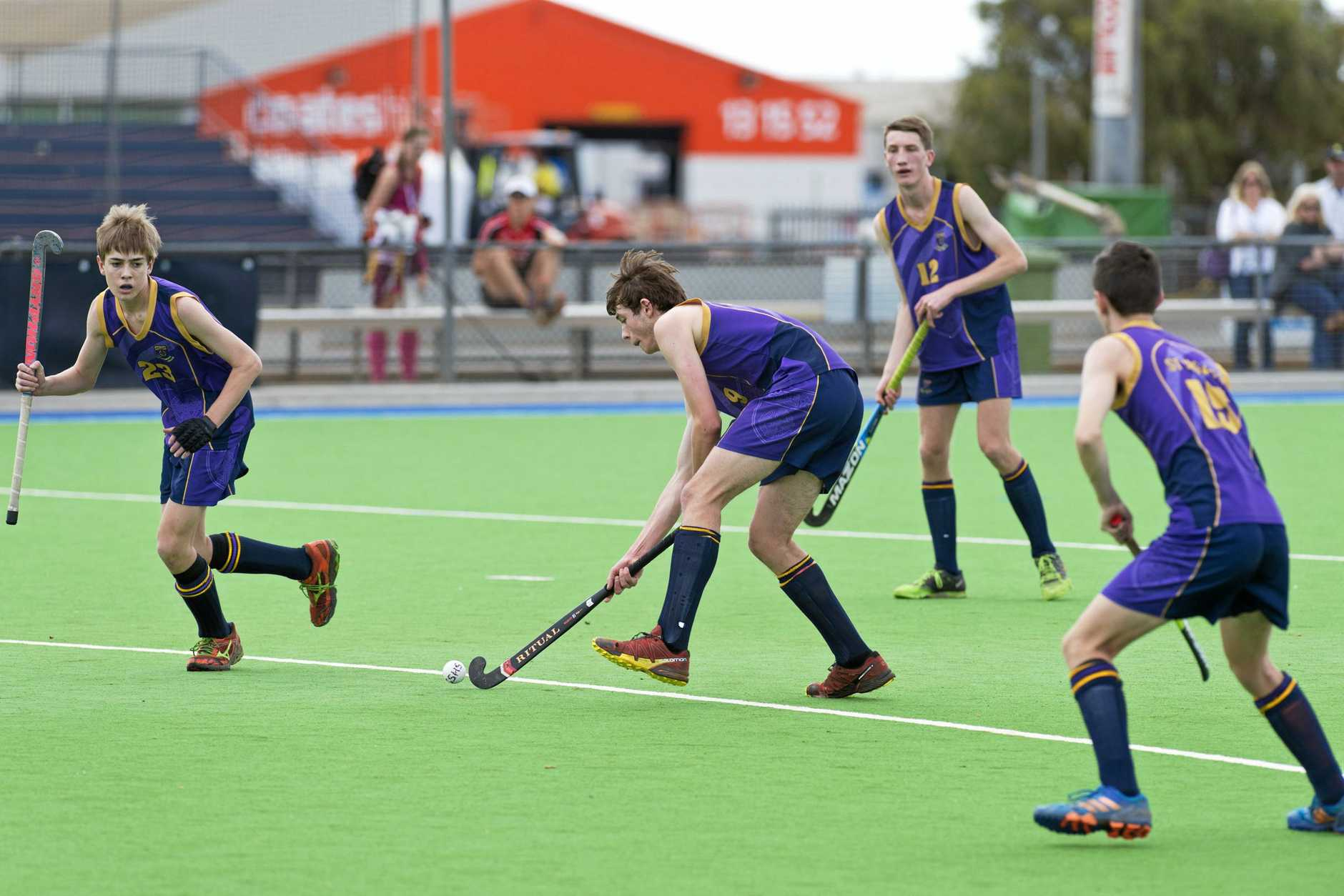 Tom Lebsanft shoots for St Joseph's College against Kirwan State High School, Townsville in boys hockey final of the Queensland All Schools Cup at Clyde Park, Monday, October 23, 2017., Tuesday, October 24, 2017.