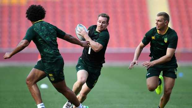 Australian Kangaroos player Michael Morgan (centre) is seen during training in Brisbane. Australia will play their opening Rugby League World Cup game against England in Melbourne on October 27. Picture: Dan Peled/AAP