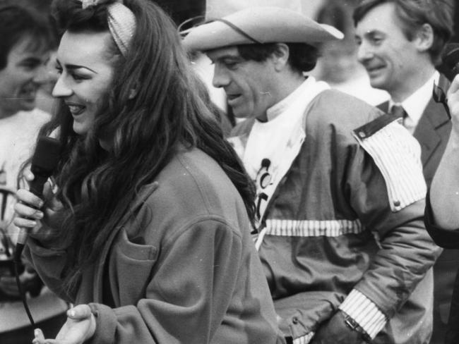 Boy George with Molly Meldrum in Rundle Mall, Adelaide in July 1984. Picture: supplied