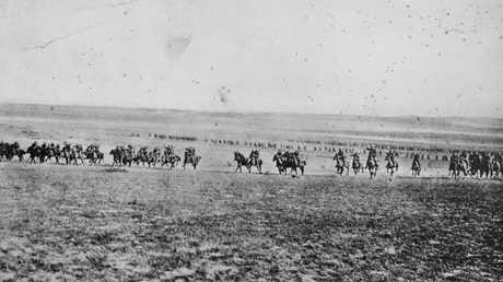 'Thunder of a light horse charge'. This photograph has been described as one of the charge of the 4th Light Horse Brigade at Beersheba on the 31st October 1917. It's now believed to have been taken by photographer Frank Hurley in February 1918. (AAP Image/ Australian War Memorial)