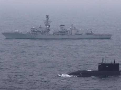 The anti-submarine frigate HMS Somerset keeps company with the modified Kilo-class submarine Krasnodar as it made its way to Syria. NATO was keen to observe the submarine's fighting potential, and may have given a more surprising demonstration than it expected. Picture: Royal Navy