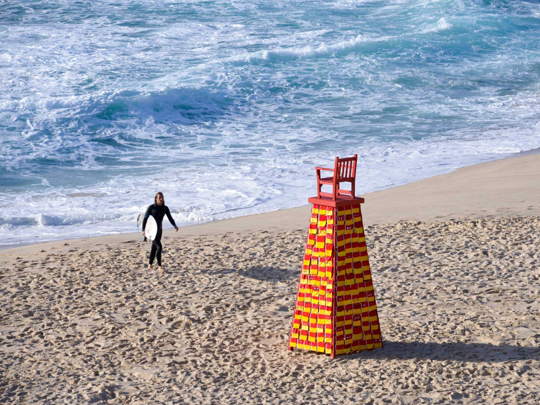 KNITTED ART: Linton Meagher's entry in this year's Sculpture by the Sea, Lookout For Me, is on the sand at Tamrama Beach. It's made of wood, marine grade stainless steel, aryclic wool, acrylic paint and cotton.